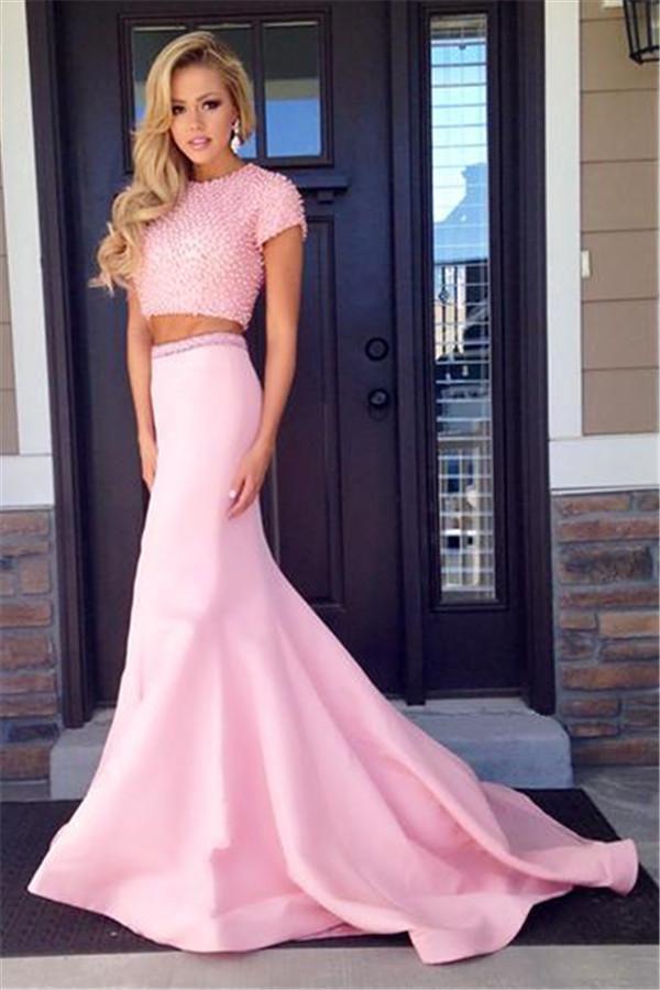 2021 roze twee stukken avond prom jurken zeemeermin kralen afgedekte mouw formele toga korte mouwen vrouwen partij pageant jurk vloerlengte