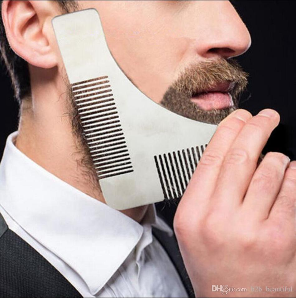 stainless steel beard comb men shaper beard template comb sidebums