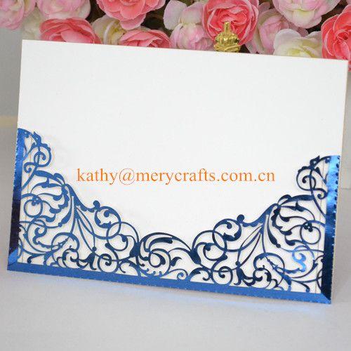 Wholesale Unique Royal Blue Wedding Invitations Laser Cut Pocket