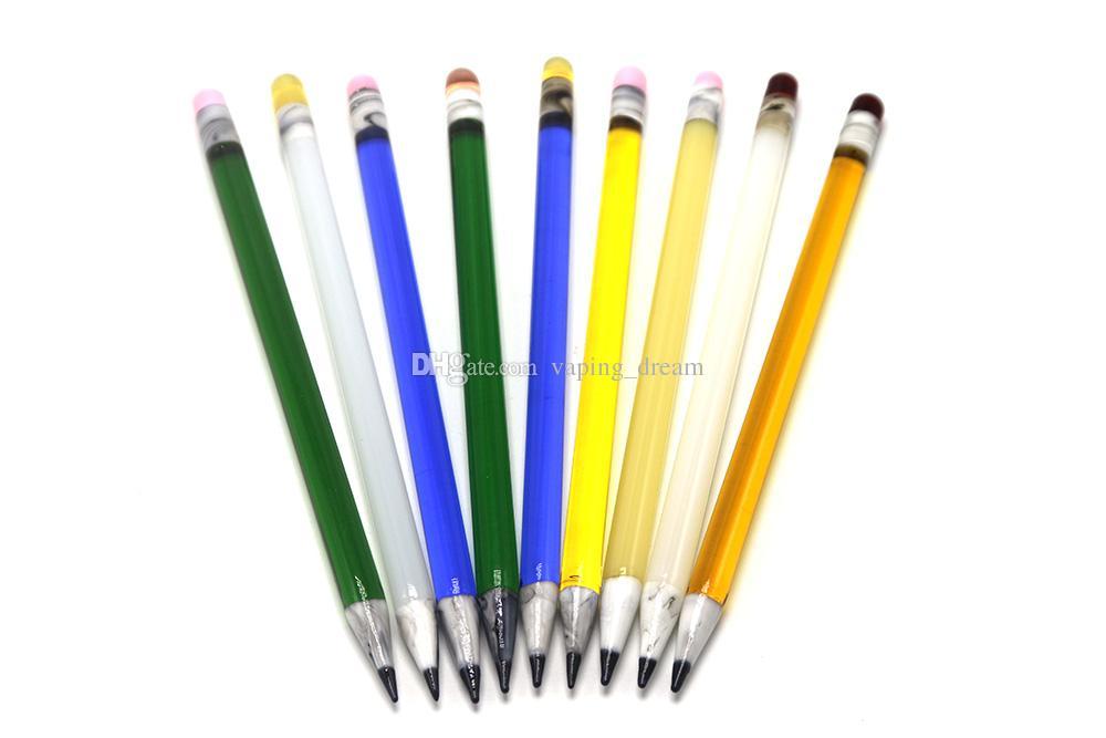 Bon marché en gros Colorful Crayon Dabbers Rigs verre Bong huile Dab outil verre Dabber pour le verre d'eau Tuyaux d'eau Rigs huile Bongs