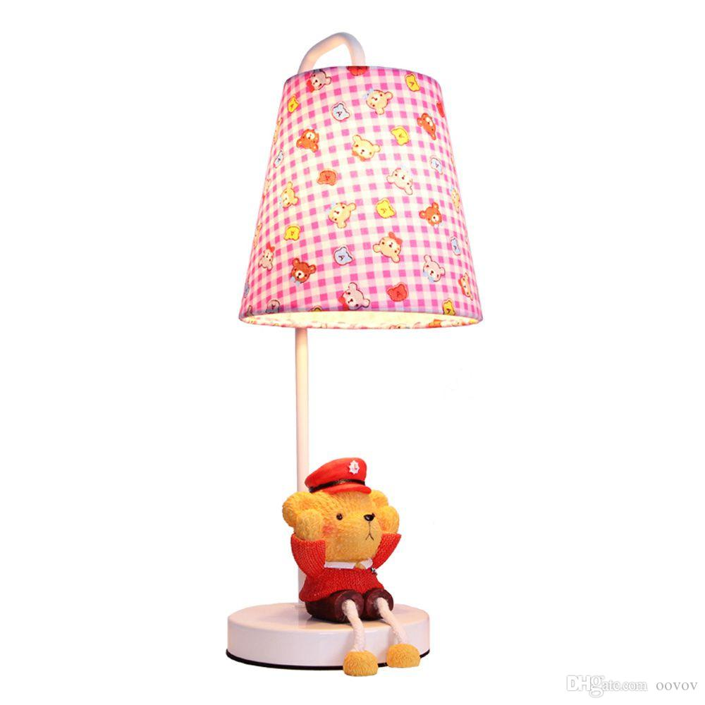 cute fabric baby room small desk lamp cartoon bear kids room desk light children bedroom table lamps from oovov 583 dhgatecom