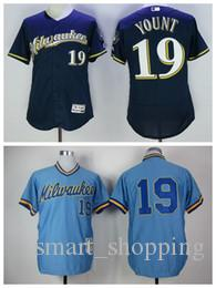wholesale dealer 9f012 8e801 milwaukee brewers 19 robin yount white pinstripe jersey