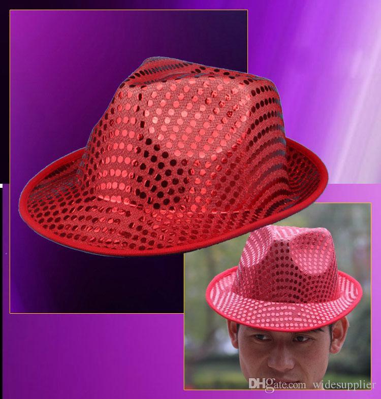 Show de desempenho do partido de Halloween adereços maquiagem vestido cocar chapéu masculino e feminino jazz chapéu chapéu contas de lantejoulas chapéus