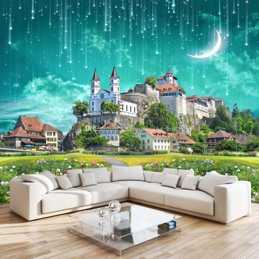 3d Galaxy Wallpaper Fantasy Castle Wall Mural Custom Meteor Shower Kid Bedroom Living Room Hotel Coffee Starry Sky Decor Animated Wallpapers