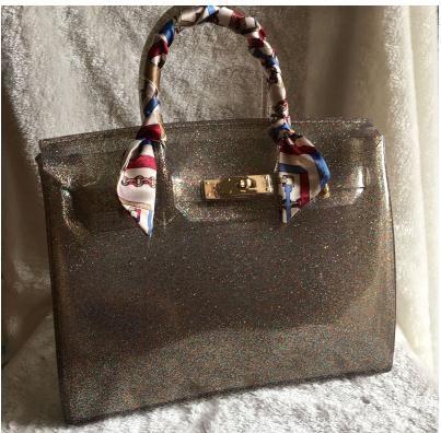 عالية الجودة كيس الأزياء الفاخرة الشاطئ الصيف هلام حقيبة لون الحلوى النساء حمل عارضة حقيبة قفل اليد مكتب BOLSAS محفظة