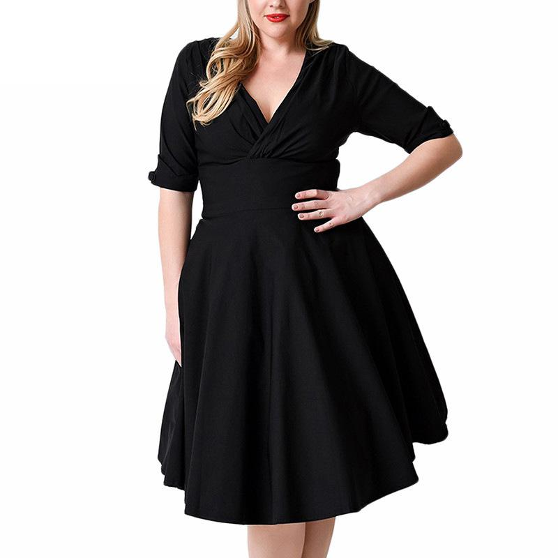 Girl Party Autumn Plus Size Dress Big Size Xxxl 8xl Robe Sexy Deep V