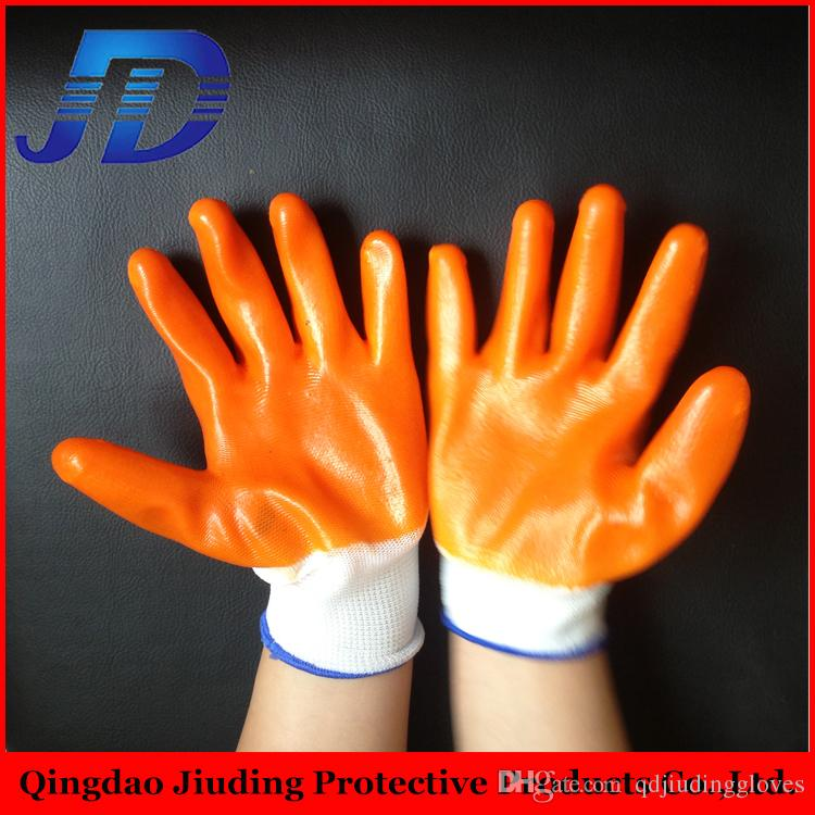 china wholesale of loading PVC hang half working gloves safety gloves for oil and gas
