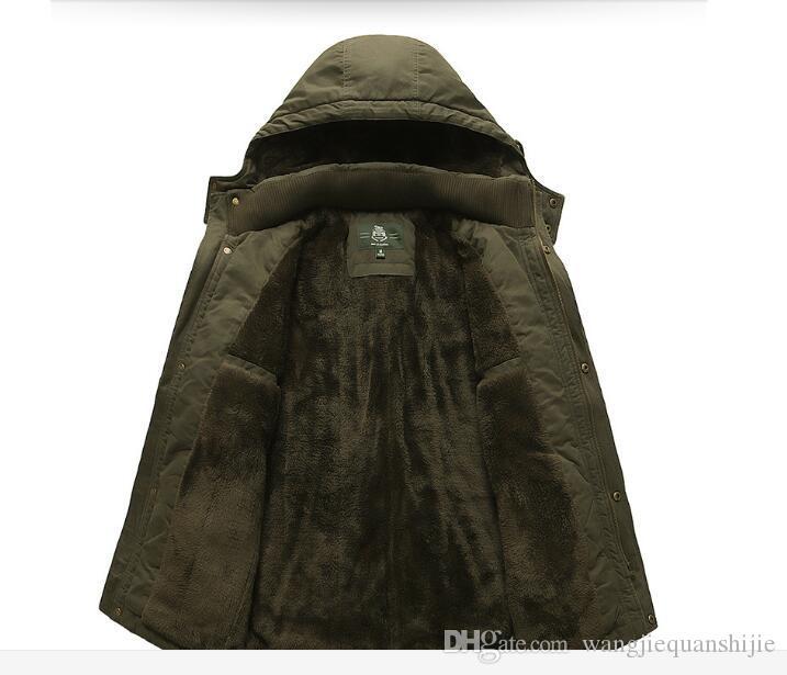 AFS JEEP Uomo Autunno Primavera Cappotto Cappotto Staccabile COTONE Uomo Giacche Manica lunga Stile militare Capispalla Casual Plus Size