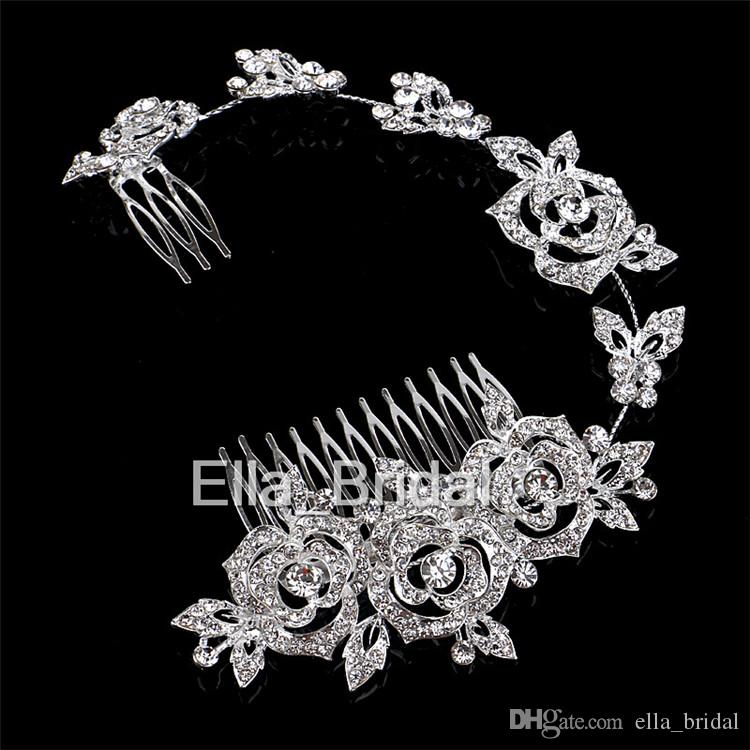 Gold Silver Bridal Hair Jewelry Beautiful Wedding Crystalsl Accessories Cheap Fashion Floral Tiaras Bridal Hairpieces EllaBridal New Design