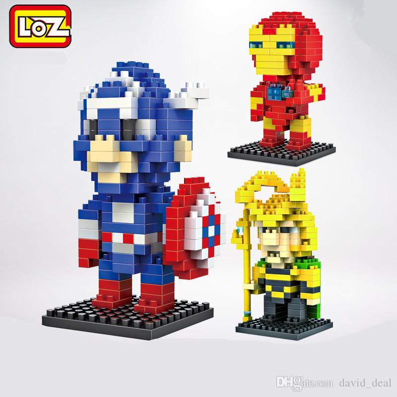 LOZ Diamond Super Heroes Building Blocks Superman Iron Hulk Bat Man Block Toys For Children Bricks Kids Gift Toy