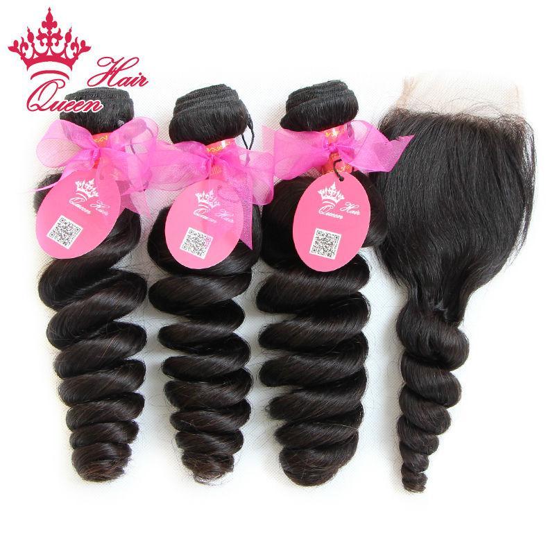 Queen Hair Official Store Lose Welle Spitze Verschluss mit Bundle100% Brasilianische Jungfrau Human Hair Extensions 10