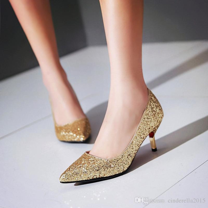 f135f27666b Spring Pointed Toe Women Shoes Comfortable Middle Heel Gold Glitter ...