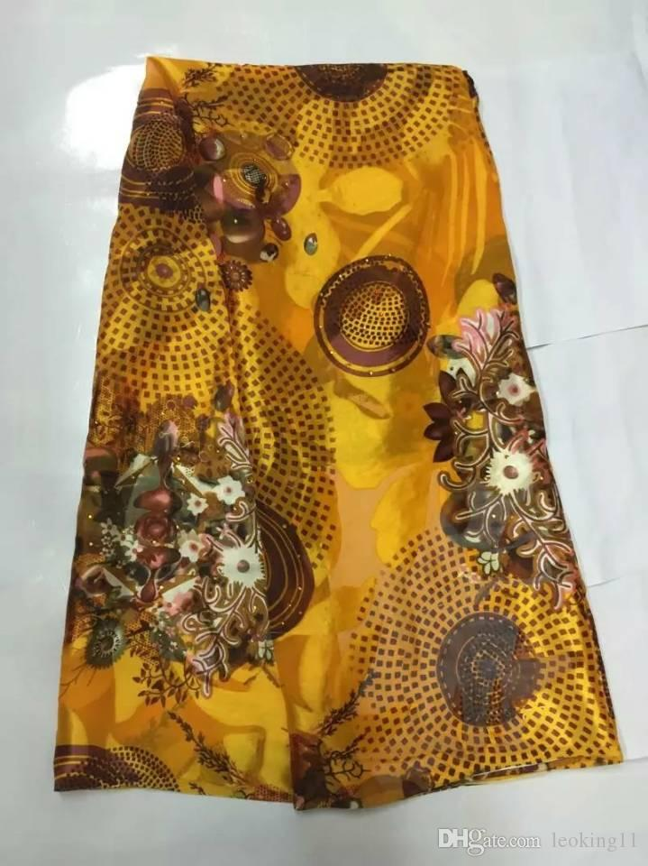5Yards/pc Charming orange chiffon silk lace african smooth and soft silk fabric with rhinestone for dress JS34-2