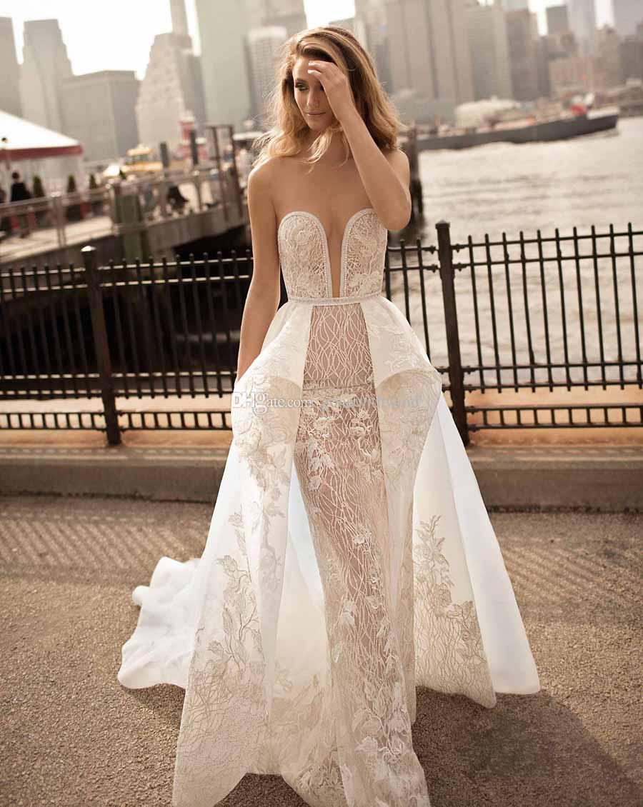 Sexy glamorous sheath wedding dresses 2018 berta bridal for Sexy sheath wedding dress