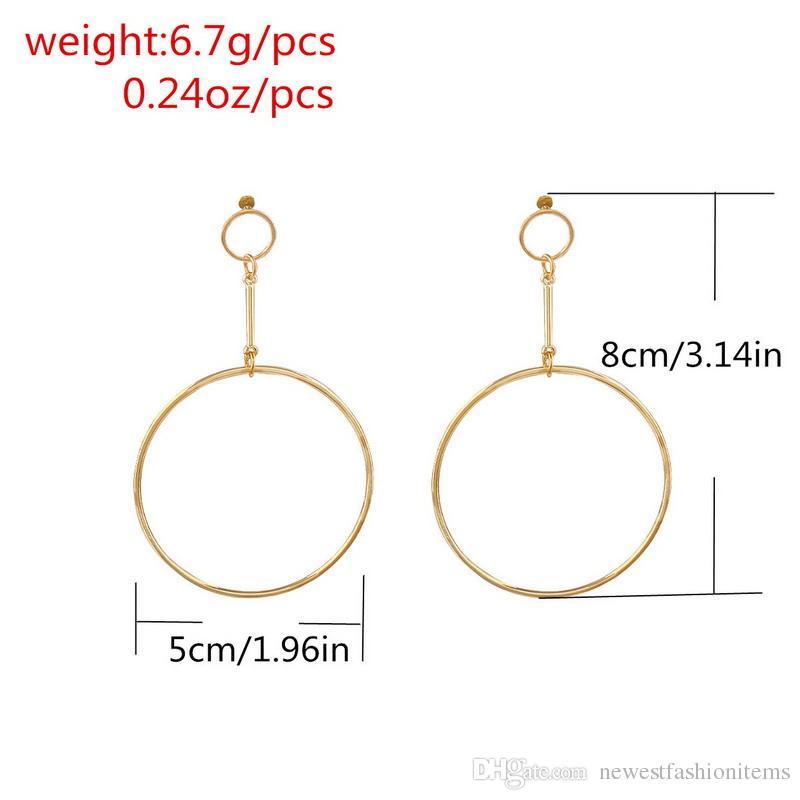 2019 New Simple Exaggerated Aros Big Round Circle Orecchini le donne Geometric Drops Long Ciondola gli orecchini Brincos Ear Jewelry Gift XR940