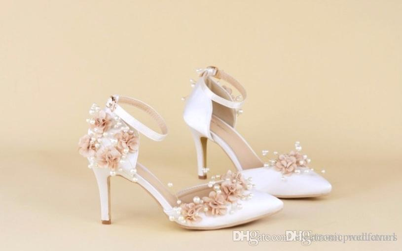 Custom Exclusive Date Literal White Stiletto Heels Wedding Shoes Sandals Lace Pearl Party
