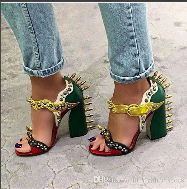 80e057673ca5 Brand Summer Malin Spike Leather Sandals Women High Heels Rivet Studded  Shoes Woman Chunky Heel Colorblock Sandalias Mujer Wedge Shoes Womens  Sandals From ...