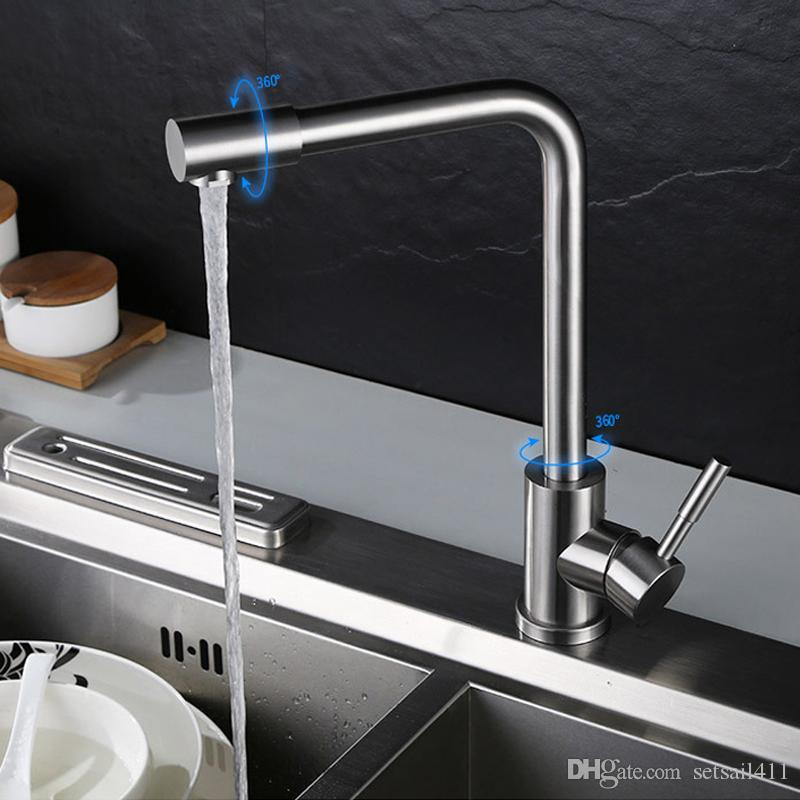 2019 Cold And Hot Water Kitchen Faucet 304 Stainless Steel Water Tap