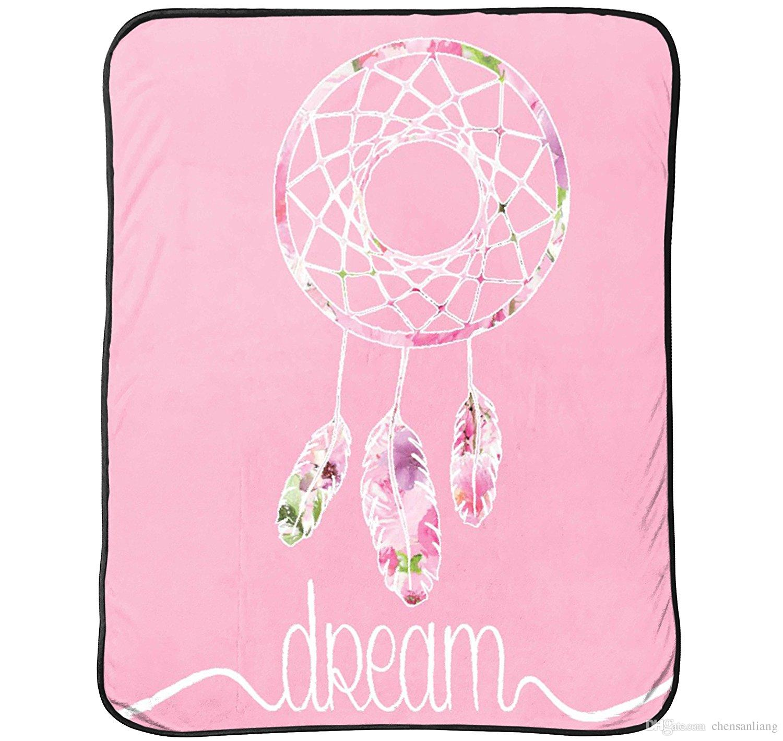 Flannel Blanket Rose Floral Pink Flower Dream Catcher Sofa Throw