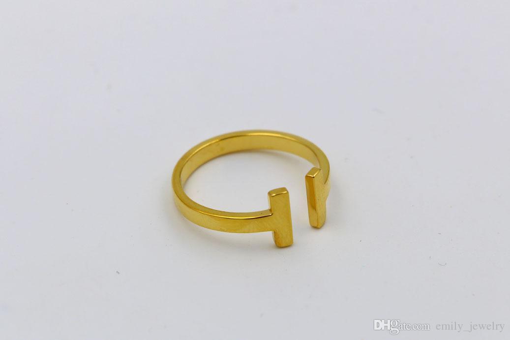 kadın erkek sevgilisi için 316L Paslanmaz Çelik moda çift T halka Takı 18K Altın rengi yüzük ve Takı Bijoux Hiçbir logosu gül