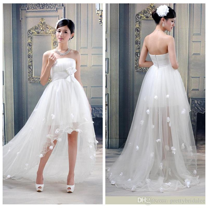 Strapless High Low Simple Wedding Dresses Floral Adorned Bridal Gowns Hi Lo Custom With Bow Waist A Line Plus Size 2017 Summer