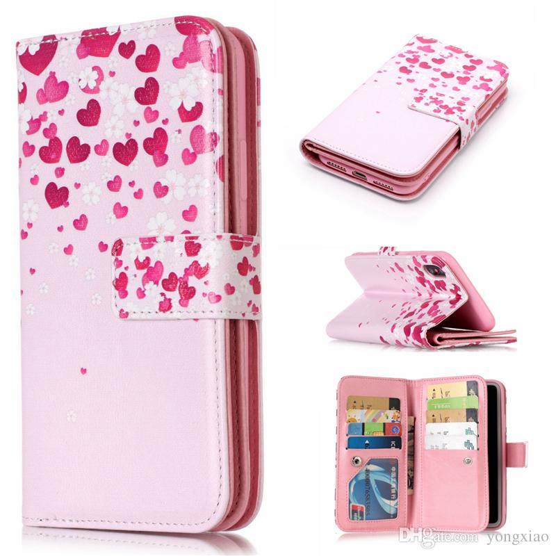 Para iphone x 7 8 plus 9 slots de cartão wallet pu estojo de couro kickstand 3d alívio flor flor borboleta leopardo samsung s7 edge s8 s9