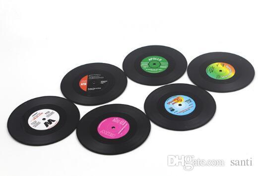 أزياء الساخن 6 قطعة / المجموعة الرئيسية الجدول كأس حصيرة الإبداعية ديكور القهوة شرب تحديد الموقع الغزل الرجعية الفينيل cd سجل المشروبات الوقايات