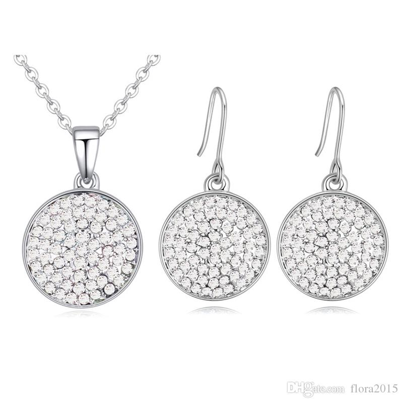 cdc60770c 2019 New Crystal From Swarovski Fashion Circle Pendant Round Necklace  Earrings For Women Wedding Jewelry Set From Flora2015, $8.04 | DHgate.Com