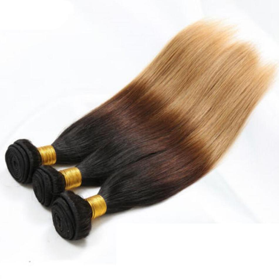 Perulu Düz İnsan Saç Remy Saç Örgüleri Ombre 3 Tonluk 1B / 4/27 Renk Çift Atkı 100 g / adet Boyalı Olabilir Ağartılmış
