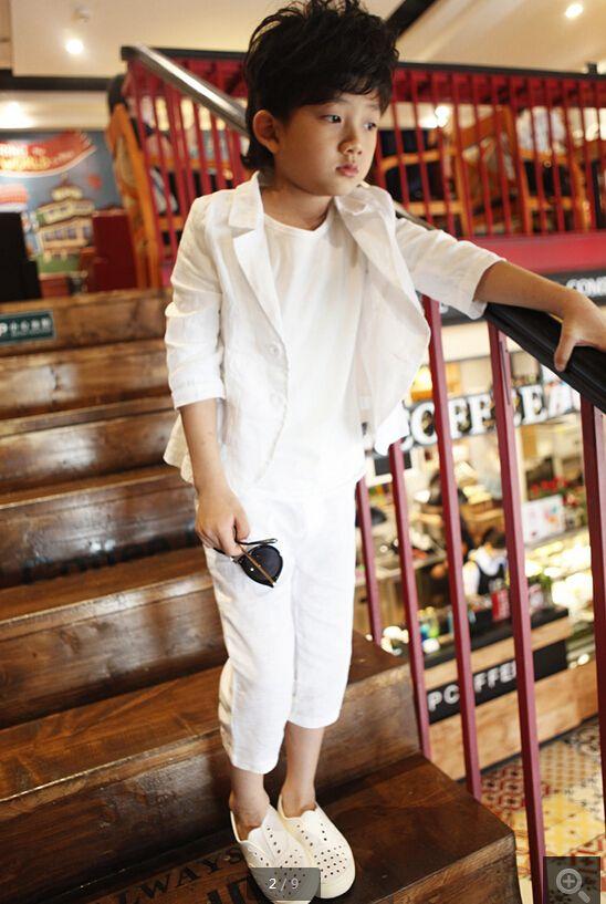 Yeni varış! Özel yeni çocuk giyim tarzı bahar çocuk yakışıklı takım elbise çiçek takım elbise 2 parça ceket + pantolon sipariş için yapılan