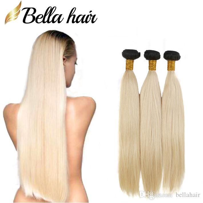 Bellahair Brazilian Virgin Hair Weaves 1B / 613ブロンドのオムレの髪の束の拡張ストレート人間の髪の緯糸3本/ロットのバルク
