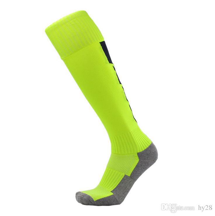 2018 Barreled football socks towel bottom Striped knee stockings Child Men Kids Boys Soccer Mesh sock Absorbent sox non-slip movement
