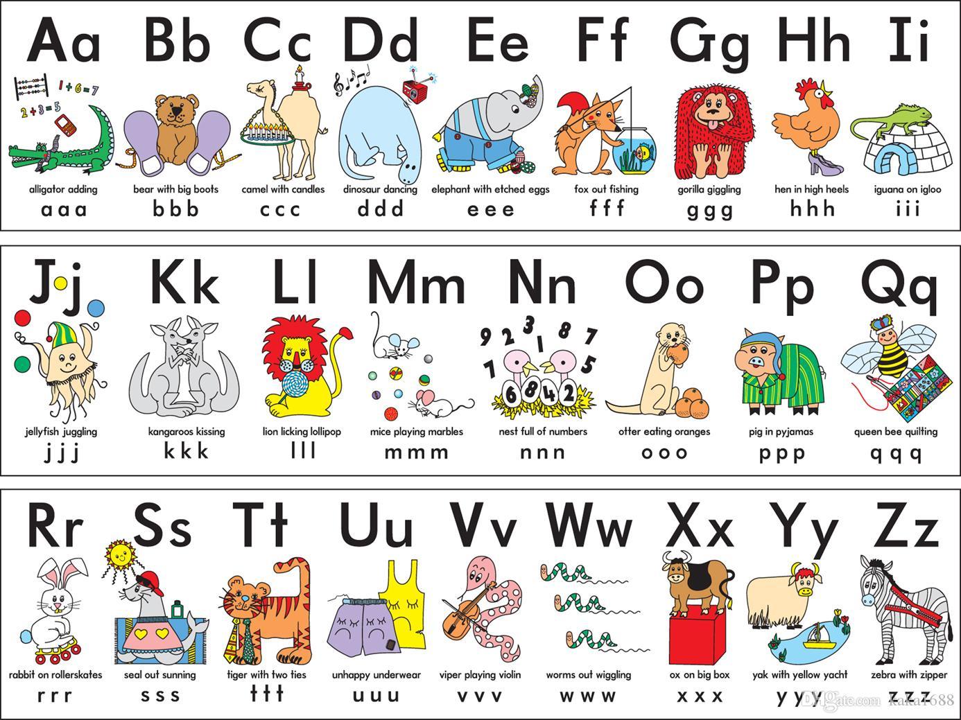 Großhandel Mein ABC Alphabet Lernen Tisch Stoff Poster 20 X 20 ...