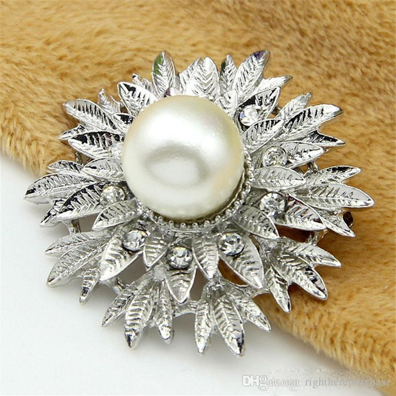 Blue Crystal Flower Brooches Pins Corsage Scarf Clips Women Bridal Bouquet Pins Pearl Brooch Silver Christmas Wedding jewelry Gift