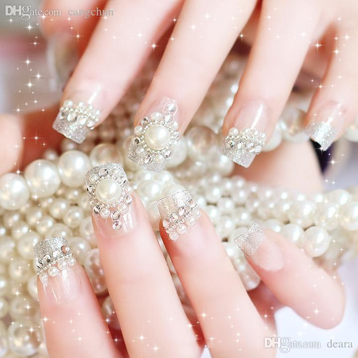 Wholesale Nail Stickers Bride Nail False Finished Manicure Fake ...