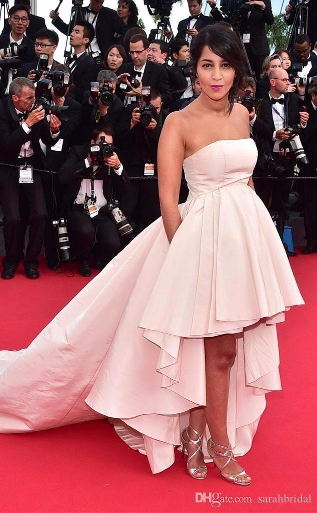 2017 Pink Strapless High Low Prom Celebrity Evening Dresses Festival 12y Red  Carpet Dress Special Occasion Pretty Fairy Train For Pregnant Little Black  ... d23a8602de8e