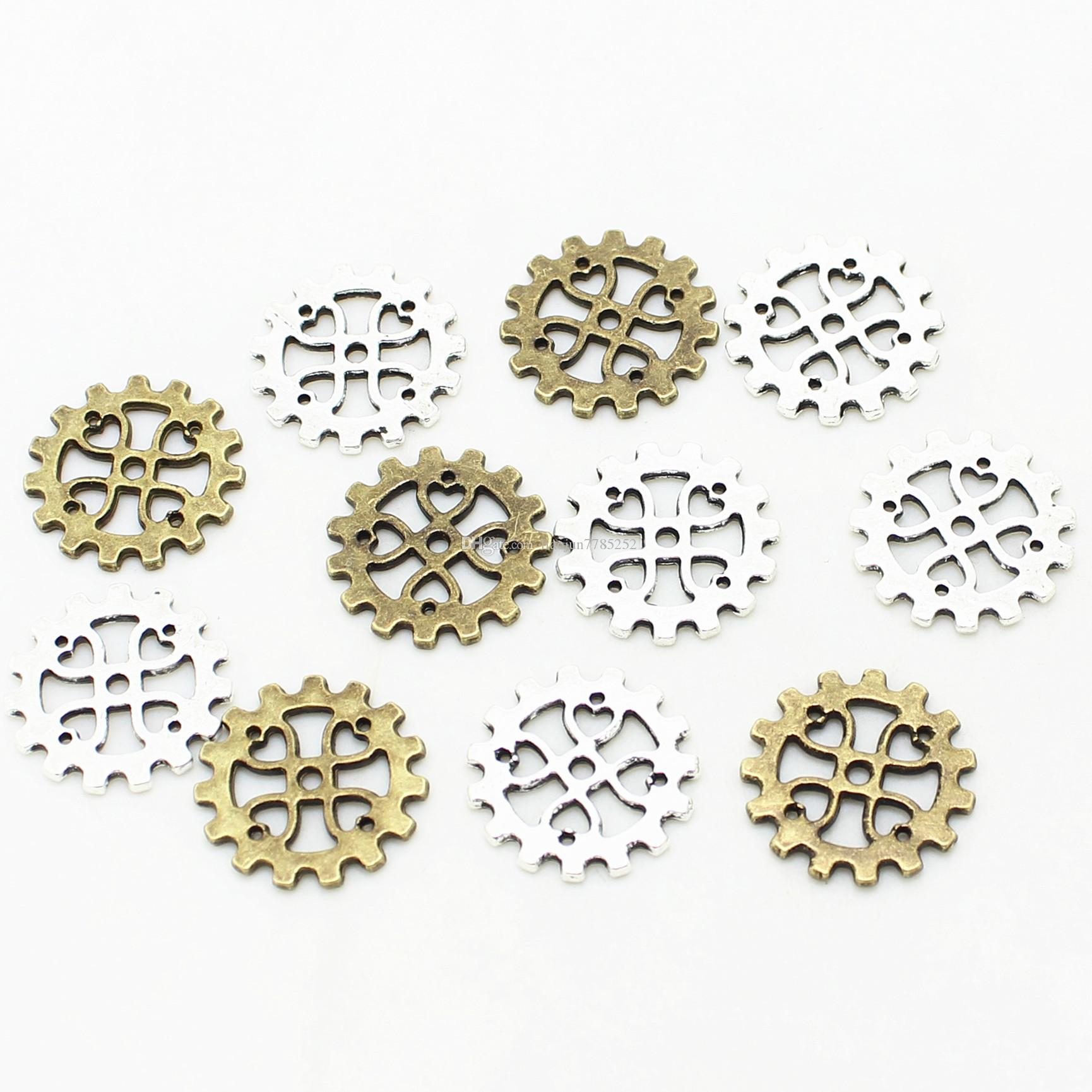 Sweet Bell Min order 50pcs 18mm gears Vintage Zinc Alloy Mix Gear Charm Jewelry Pendant Findings for Jewelry Making D1031