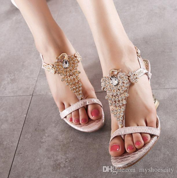 aaeeed379 Sexy Women Shoes Rhinestone High Heels Wedge Sandals Pink Beige Gem Crystal  Shoes Size 35 To 40 Sandals For Men Jelly Sandals From Myshoescity