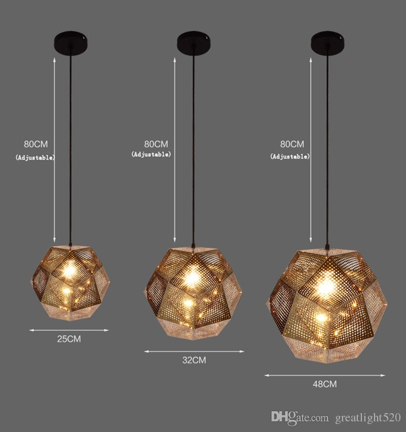 Os mais recentes Metal Arte Bola Pendant Light Geometry Bar Polyhedral Stainless Steel Polyhedral Personalidade Pendant Light Lamp Art Chandelier