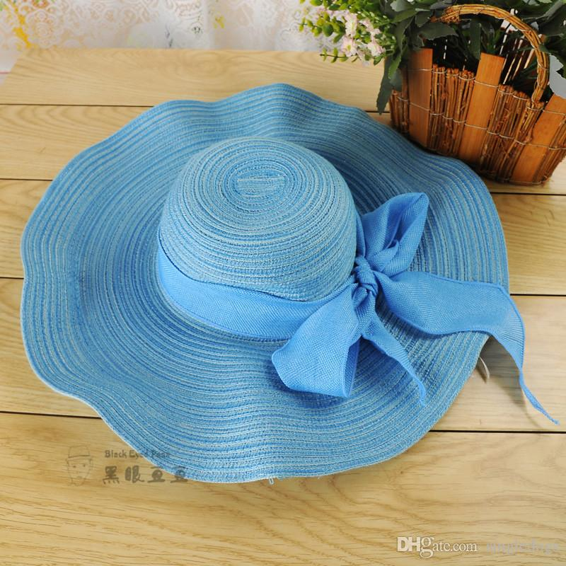 Wholesale Large Floppy Foldable Straw Hat Anti-UV For Ladies Boho Wide Brim Beach Sun Cap with Bow Summer Holiday