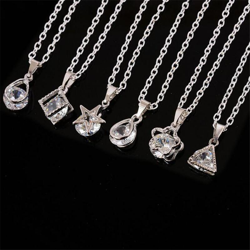 Wholesale 925 sterling silver woman man crystal diamond necklace wholesale 925 sterling silver woman man crystal diamond necklace and pendant style type random horseshoe pendant necklace silver pendant necklaces from aloadofball Image collections