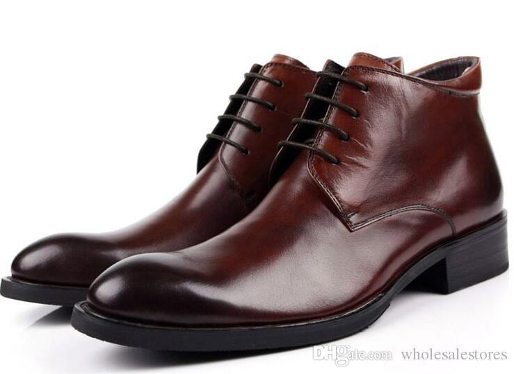b78e5fe6d98b67 2017 Mens Dress Shoes Fashion Classic Men Boots Genuine Leather Black Slip  On Cap Toe Business Male Ankle Boots Men Shoes Size 39 44 Purple Shoes Cute  Shoes ...