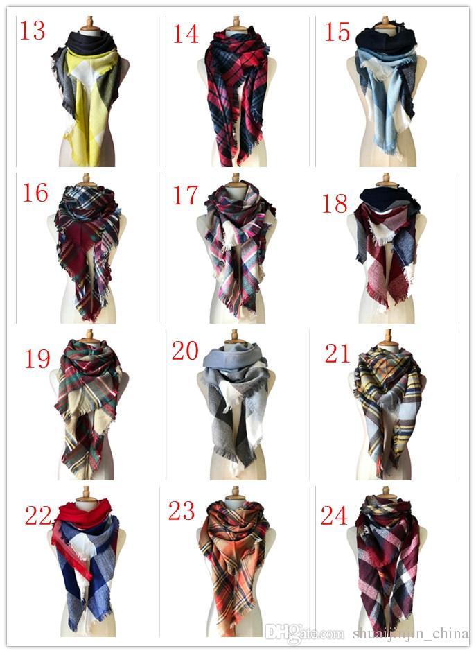 Women Plaid Scarves Grid Tassel Wrap Oversized Check Shawl Tartan Cashmere Scarf Winter Neckerchief Lattice Blankets Fashion YYA89