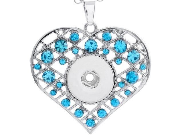 Neue blaue weiße rosa Rhinestoneherzform noosa / noosa Halskette hängender Druckknopfanhänger passte 18mm Charme diy Schmucksachezusätze