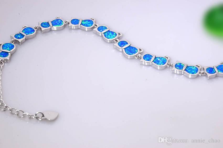 Vendita al dettaglio all'ingrosso Moda 7.0 pollici Fine White / Blue Fire Opal Bracelet 925 Sterling Jewelry BNT16022701