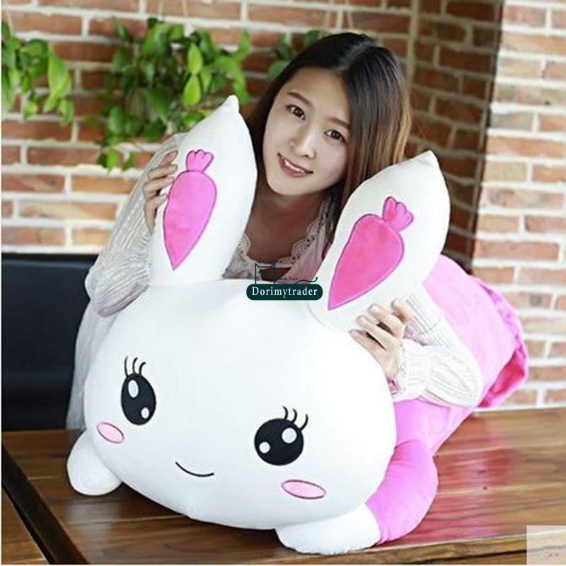 Dorimytrader New Lovely 120cm Big Soft Cartoon Lying Bunny Plush Pillow Doll 47'' Stuffed Anime Rabbit Toy Gift for Girls DY61553