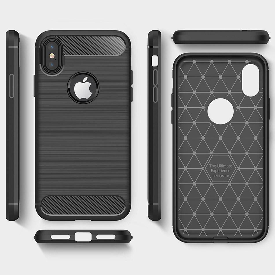 For IPhone X 8 8Plus Armor Case Brushed Cases With Anti Shock Absorption Carbon Fiber Design For Samsung J4 2018 J7 2018 S8 S9 Plus OPP Bag