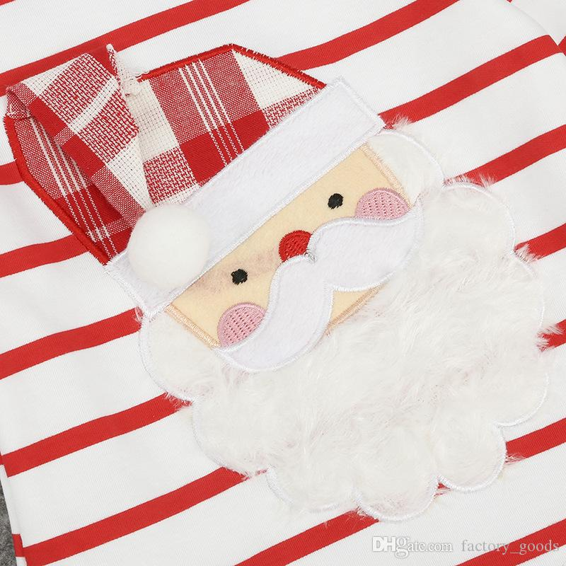 Baby Girls Christmas Dresses Santa Claus Striped Long Sleeve Tops Dress Short Skirt New Kids Clothing Factory Free DHL 389