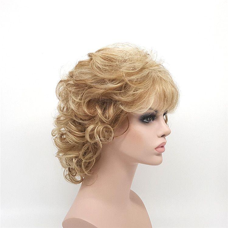 XT638 Short Curly Blonde Wigs For White Black Women 12 Inch Synthetic Hair Pelucas Sinteticas Perruque Peruca Pruiken Peruk Factory Sales
