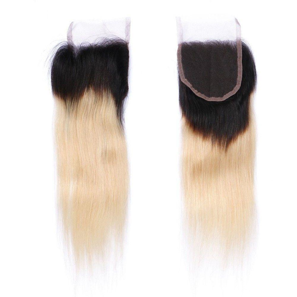 9a unprocess اثنين من لهجة 1b 613 أومبير البرازيلي العذراء الإنسان الشعر ينسج مع إغلاق أمامي مستقيم شقراء أومبير الدانتيل إغلاق مع 3 حزم